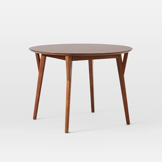 Mid Century Rounded Expandable Dining Table, Round Mid Century Modern Dining Table
