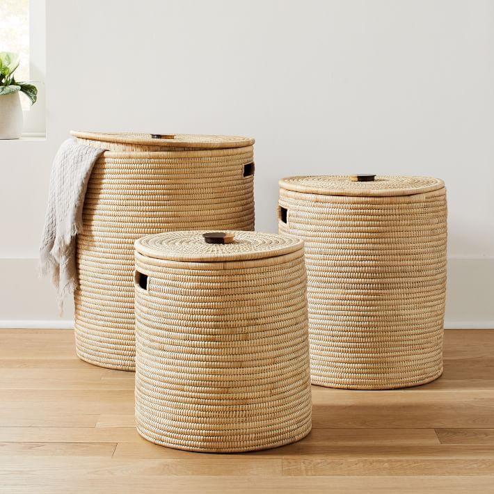 Wooden Handle Hamper Baskets