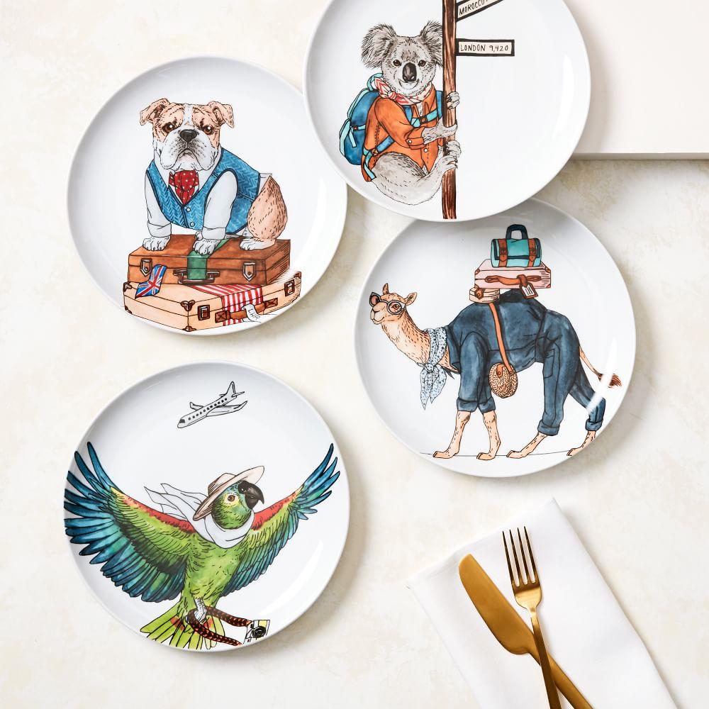 Brand New West Elm Rachel Kozlowski Dapper Animal Plate  Macaw set of any 2