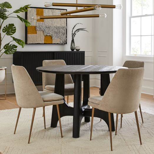 Tanner Solid Wood Round Dining Table, Solid Wood Round Dining Table Sets