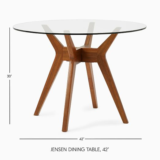 Jensen Round Dining Table, Glass Round Dining Table