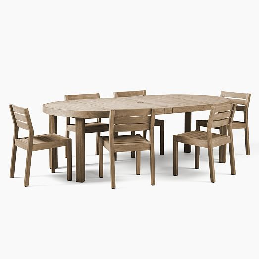 Portside Outdoor Round Expandable, Dining Room Sets With Expandable Tables