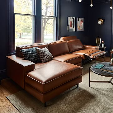 Axel Motion Leather 3-Piece Reclining Chaise Sectional