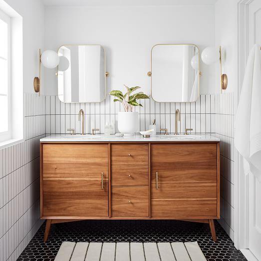 Mid Century Double Bathroom Vanity 63, Vanity For Bathroom