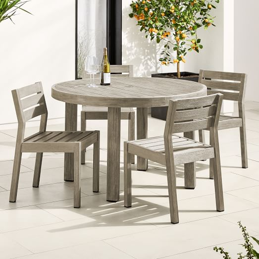 Portside Outdoor 48 Round Dining Table, Solid Wood Round Dining Table Sets