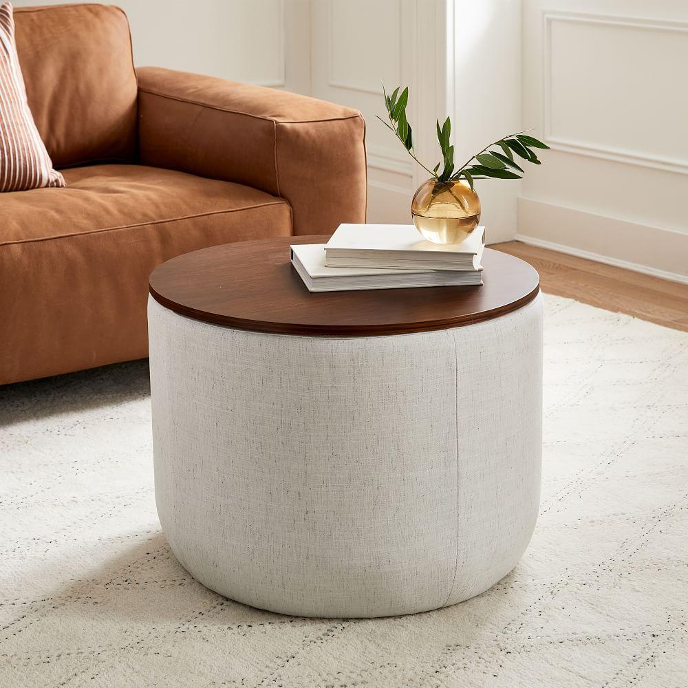 Upholstered Round Storage Ottoman, Storage Ottoman Table Round