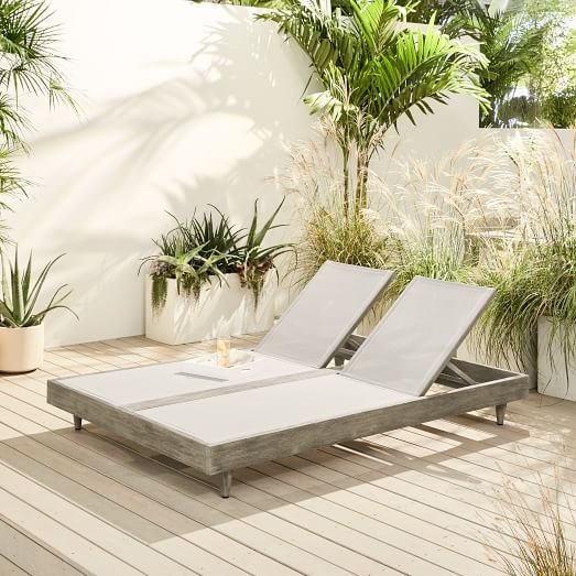 Portside Outdoor Textilene Chaise, Double Chaise Lounge Outdoor