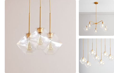 faceted multi lights in clear