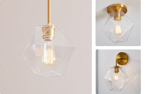 faceted single light in clear