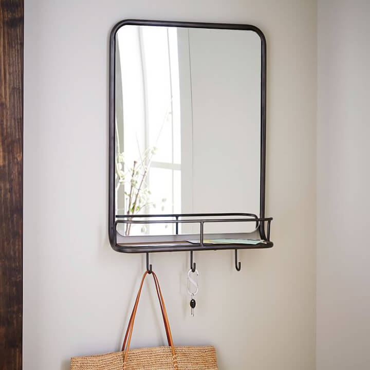 Mirror with Hooks for Small Entryway