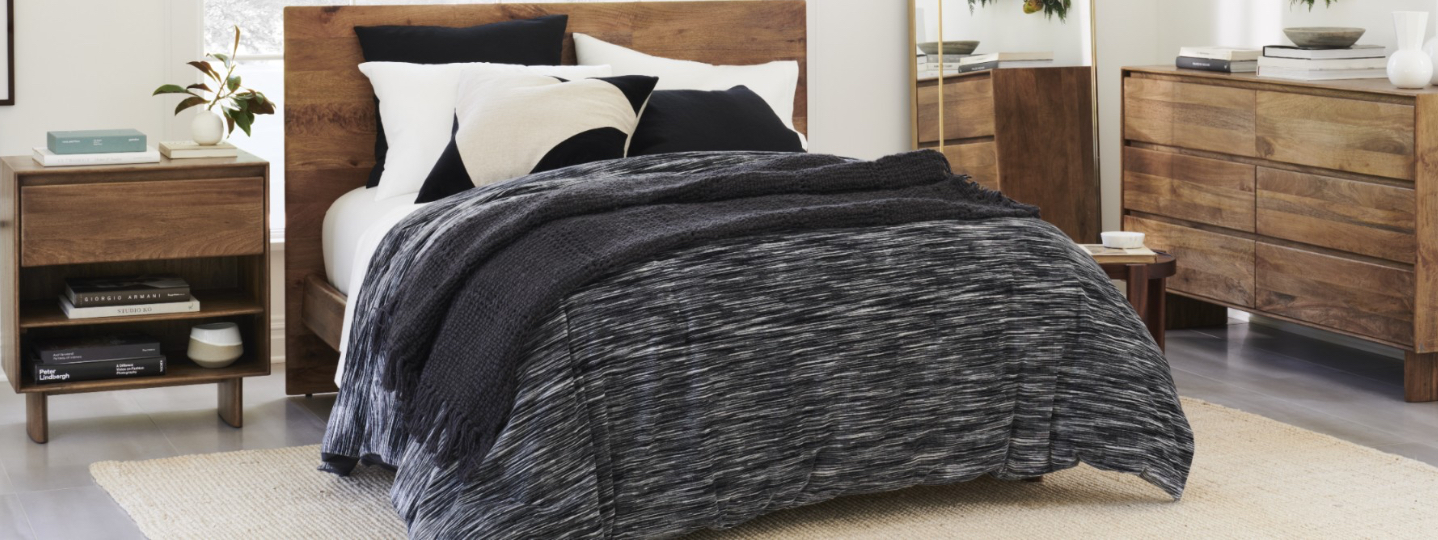 charcoal velvet & white linen