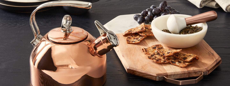 white marble & copper serveware