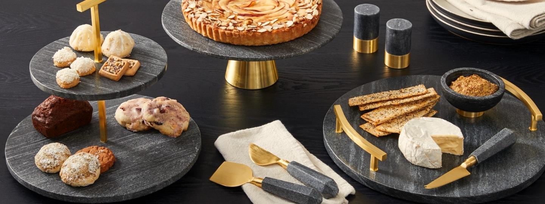 black marble & brass serveware