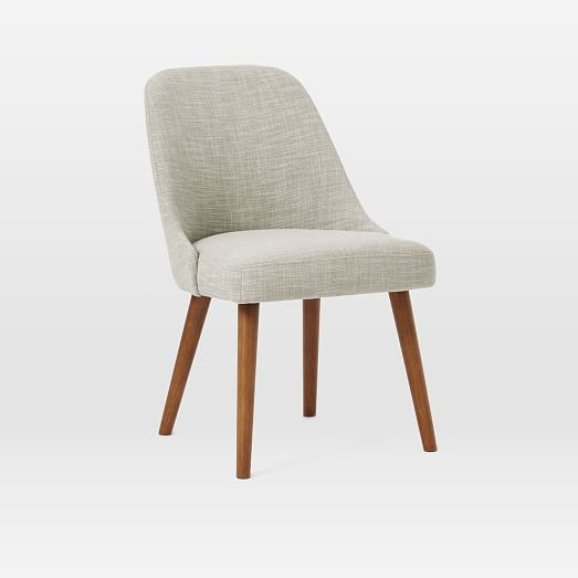 Mid Century Upholstered Dining Chair Wooden Legs
