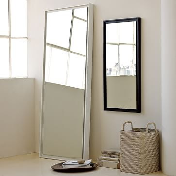 Floating Wood Floor Mirror White Lacquer