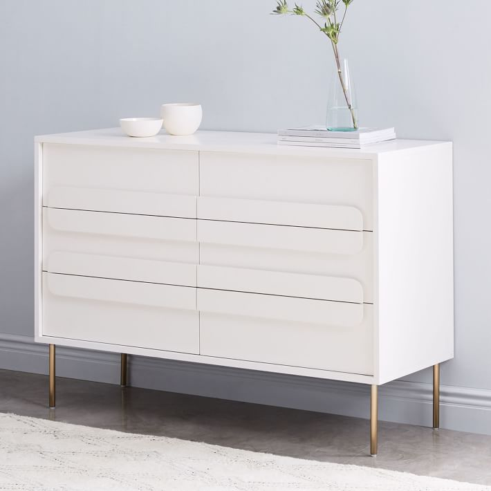 Gemini 6 Drawer Dresser White Lacquer