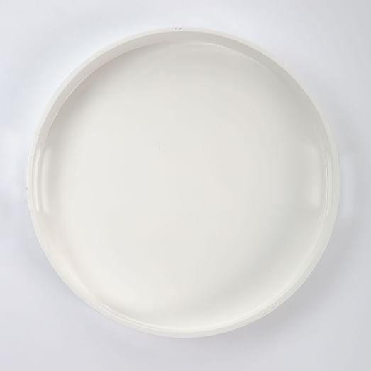 Round White Lacquer Tray Er Than, Coffee Table Tray Round White