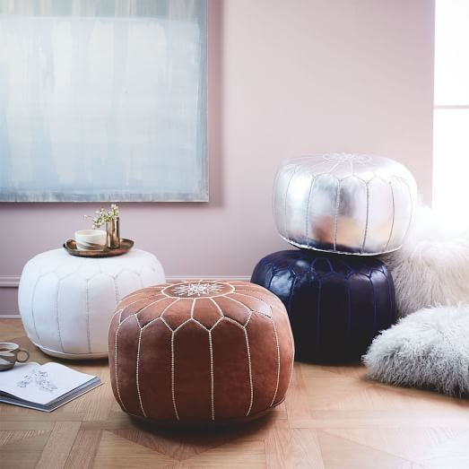 Moroccan Leather Pouf Small