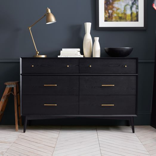 Mid Century 6 Drawer Dresser Black