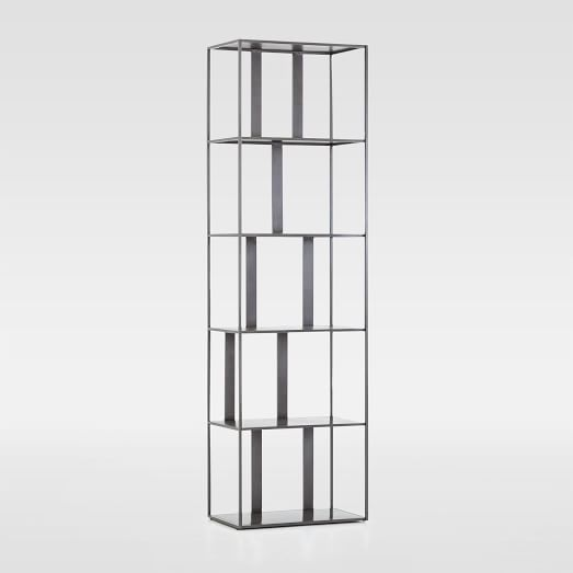 Modern Industrial Narrow Bookshelf Gunmetal