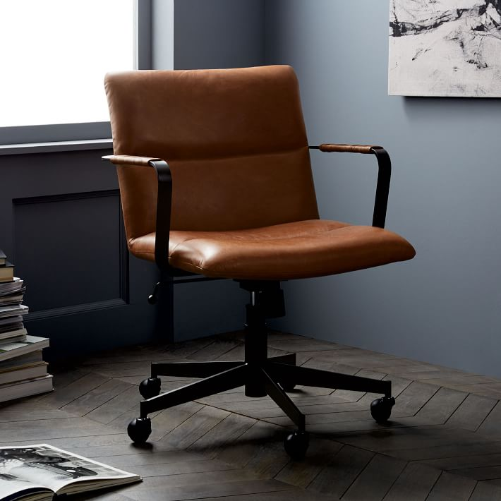 Cooper Mid Century Leather Swivel Office Chair