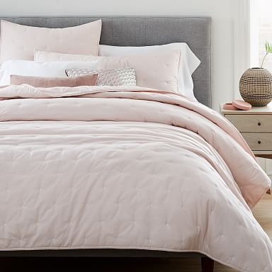 Washed Cotton Percale Quilt & Shams - Pink Champagne