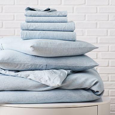 European Flax Linen Melange Starter Bedding Set - Washed Blue Gemstone