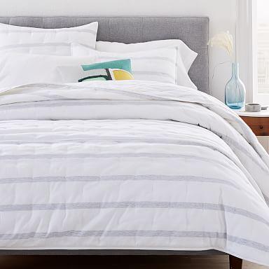 Washed Cotton Percale Reversible Melange Stripe Quilt