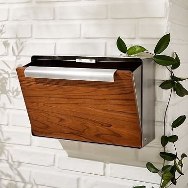 Modern Metal Mailbox - Teak & Nickel