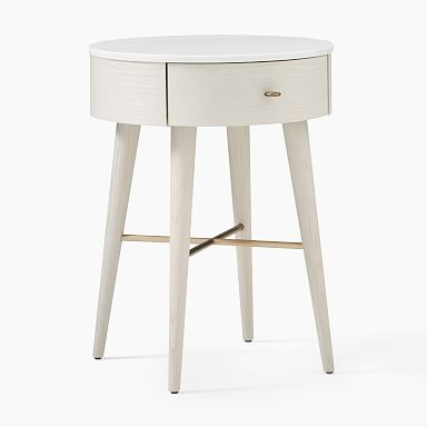 Penelope Nightstand - Feather Gray w/ Marble Top