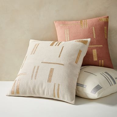 Embroidered Metallic Blocks Pillow Cover