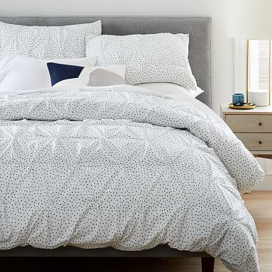 Organic Cotton Dotted Pintuck Duvet Cover & Shams - Midnight