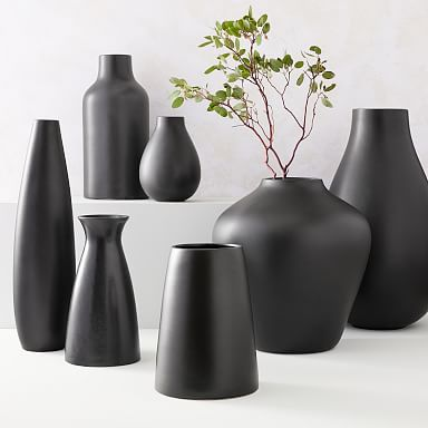 Pure Black Ceramic Vases