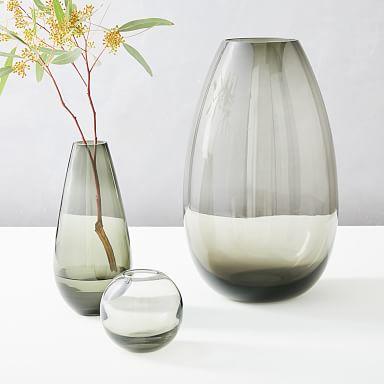 Foundations Glass Vases - Smoke