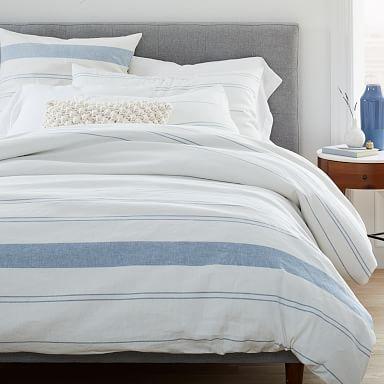 Hemp & Cotton Serene Stripes Duvet Cover & Shams - Natural/Blue Haze