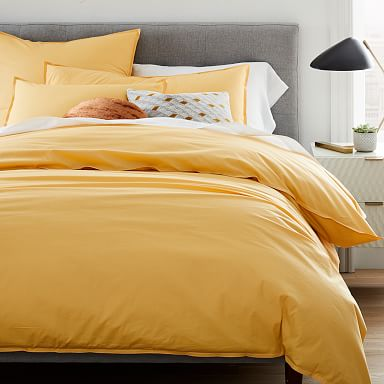 Organic Washed Cotton Percale Duvet Cover & Shams - Sunbeam Yellow