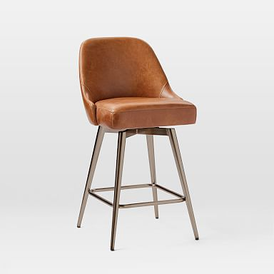 Mid-Century Leather Counter Stool