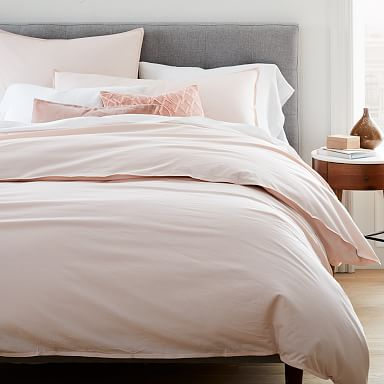 Organic Washed Cotton Percale Duvet Cover & Shams - Pink Champagne