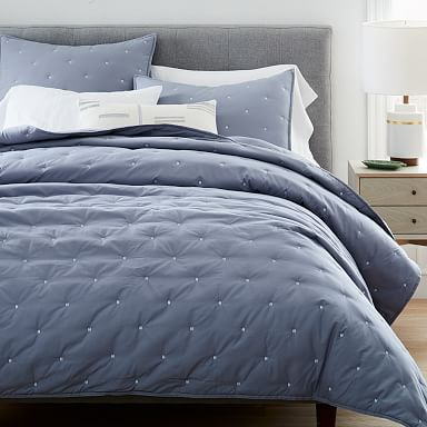 Washed Cotton Percale Quilt & Shams - Blue Fog