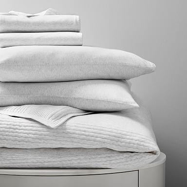Cotton Cloud Jersey Starter Bedding Set - Light Heather Gray
