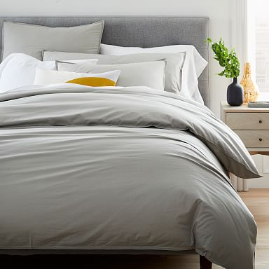 Organic Washed Cotton Percale Duvet Cover & Shams - Platinum