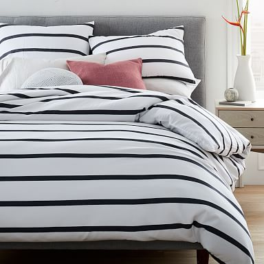 Organic Washed Cotton Percale Bold Stripe Duvet Cover & Shams - Black/Stone White
