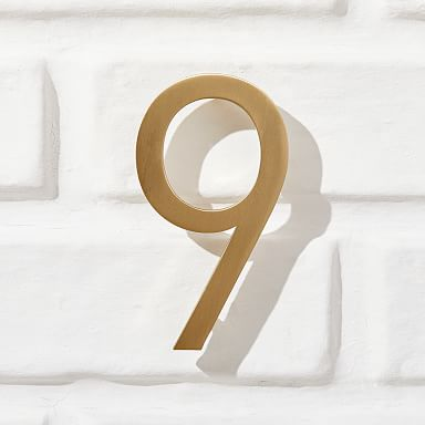 Modernist House Numbers - Antique Brass
