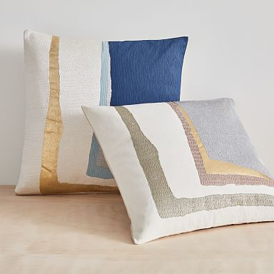 Embroidered Painted Corner Pillow Cover