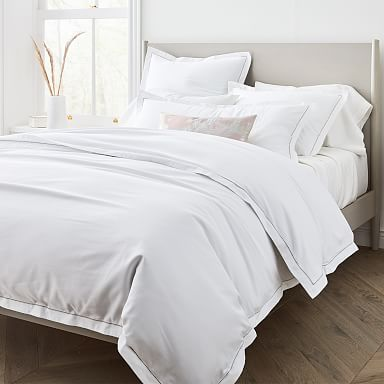 400-Thread-Count Organic Sateen Embroidered Duvet Cover & Shams
