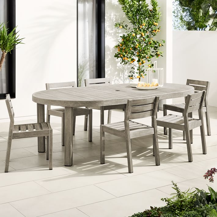 Portside Outdoor Expandable Round Dining Table 6 Solid Wood Chairs Set Weathered Gray