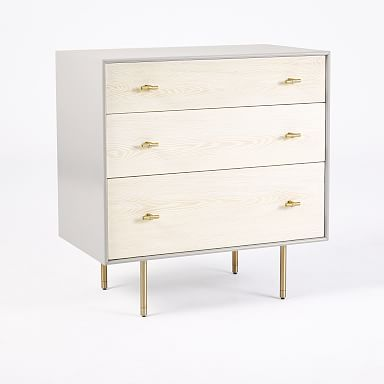 Modernist Wood & Lacquer 3-Drawer Dresser - Winter Wood
