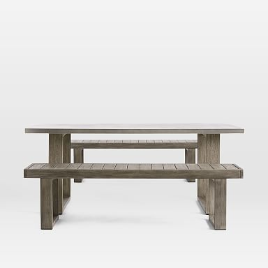 Concrete Outdoor Dining Table & Portside Benches Set