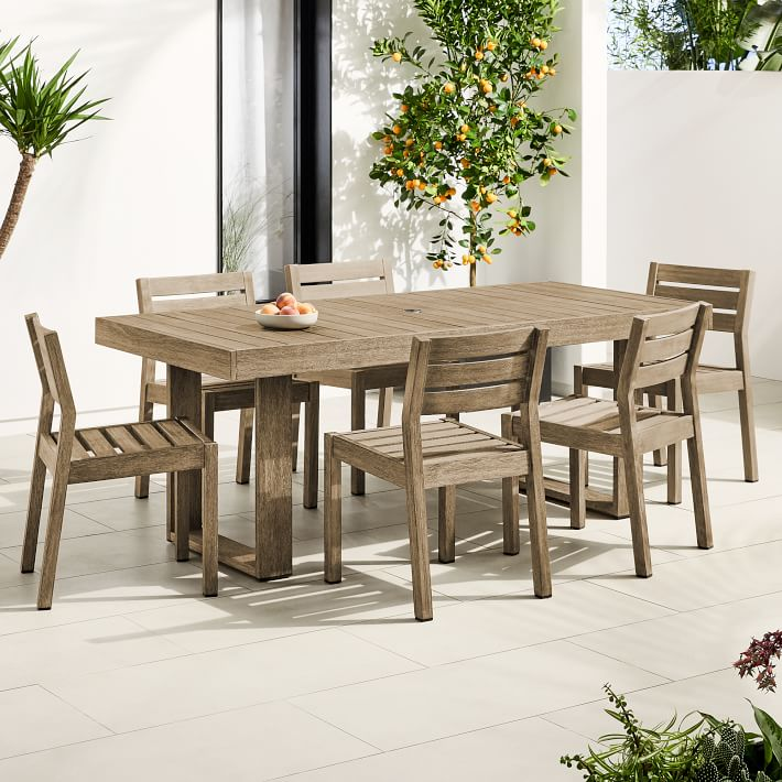 Portside Outdoor 76 5 Dining Table Solid Wood Chairs Set