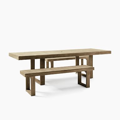 Portside Outdoor Expandable Dining Table & Benches Set